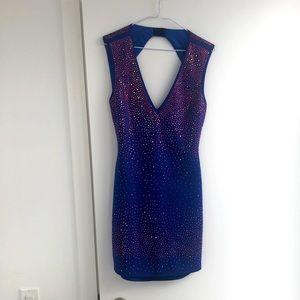 Royal Blue Sexy Open Back Sparkle Dress, M